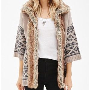Cozy Knit Faux Fur Cardigan